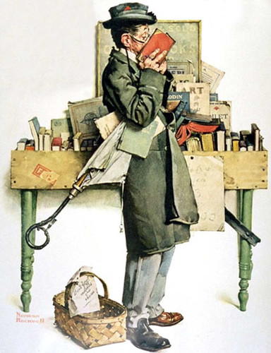 Reading Book By Norman Rockwell Art Reproduction from Wanford