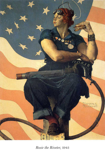 Rosie The Riveter 1943 By Norman Rockwell Art Reproduction from Wanford