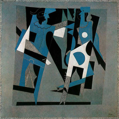 Harlequin And Woman With Necklace 1917 By Pablo Picasso Art Reproduction from Wanford.