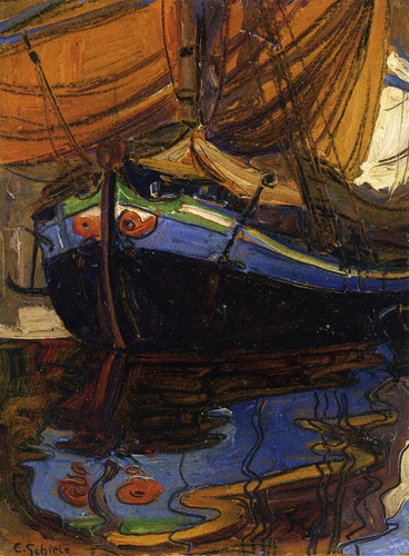 Sailing Boat With Reflection In The Water 1908 By Egon Schiele Art Reproduction from Wanford