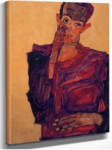 Self Portrait With Hand To Cheek 1910 By Egon Schiele