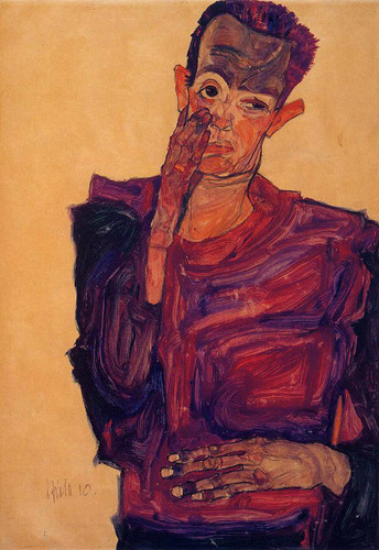 Self Portrait With Hand To Cheek 1910 By Egon Schiele Art Reproduction from Wanford