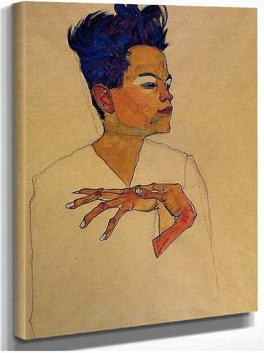 Self Portrait With Hands On Chest 1910 By Egon Schiele