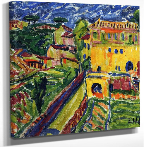 Houses Near Rome By Erich Heckel Art Reproduction from Wanford.