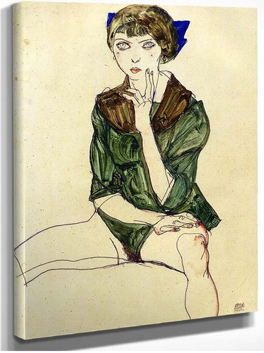 Sitting Woman In A Green Blouse 1913 By Egon Schiele