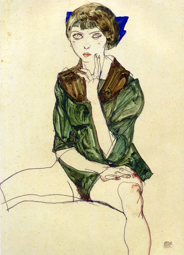 Sitting Woman In A Green Blouse 1913 By Egon Schiele Art Reproduction from Wanford