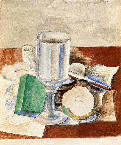 Still Life With Class And An Apple 1914 By Pablo Picasso Art Reproduction from Wanford