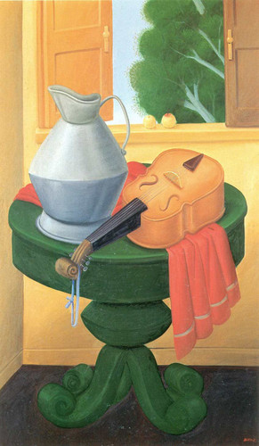 Still Life With Violin By Fernando Botero