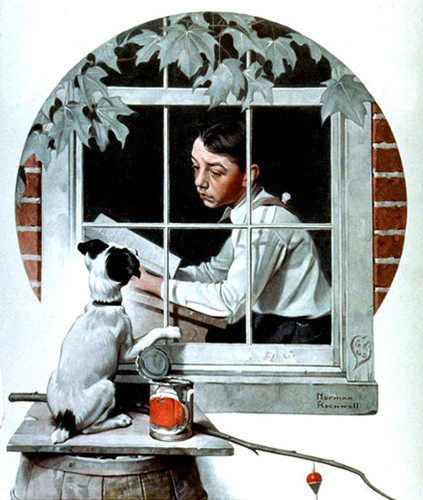 Stuck Inside By Norman Rockwell Art Reproduction from Wanford