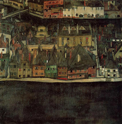 Krumau On The Molde The Small City By Egon Schiele Art Reproduction from Wanford.