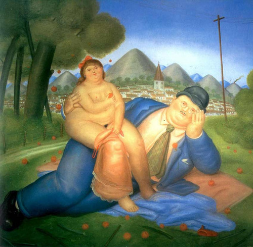 Loving Couple By Fernando Botero Art Reproduction from Wanford.