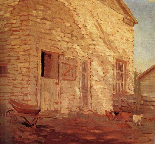 Old Stone And Barn 1919 By Grant Wood Art Reproduction from Wanford.