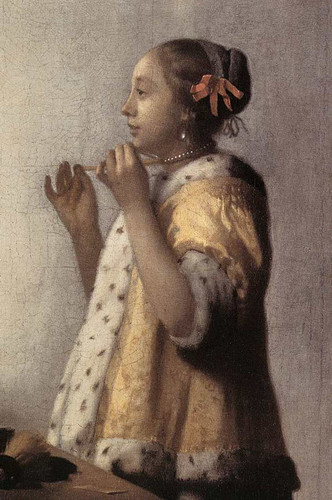 Woman With A Pearl Necklace Detail By Vermeer Johannes Art Reproduction from Wanford