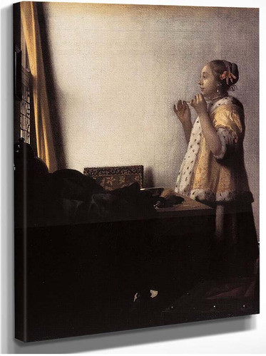 Woman With A Pearl Necklace By Vermeer Johannes