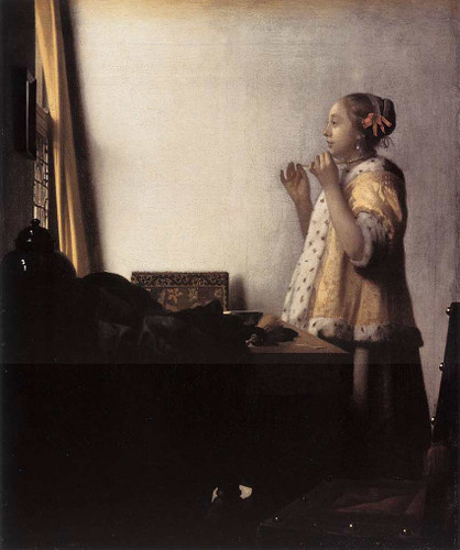 Woman With A Pearl Necklace By Vermeer Johannes Art Reproduction from Wanford