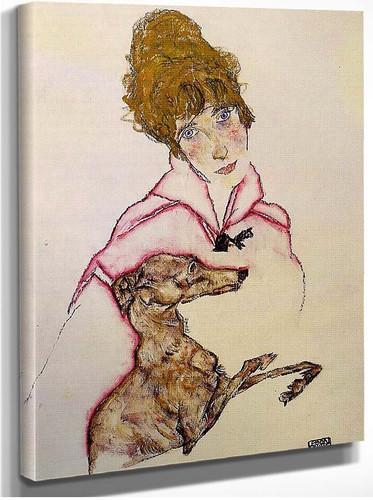 Woman With Greyhound Edith Schiele 1916 By Egon Schiele