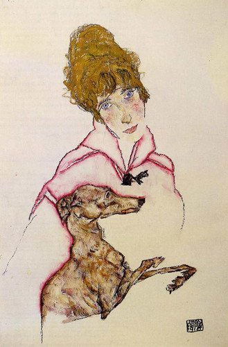 Woman With Greyhound Edith Schiele 1916 By Egon Schiele Art Reproduction from Wanford