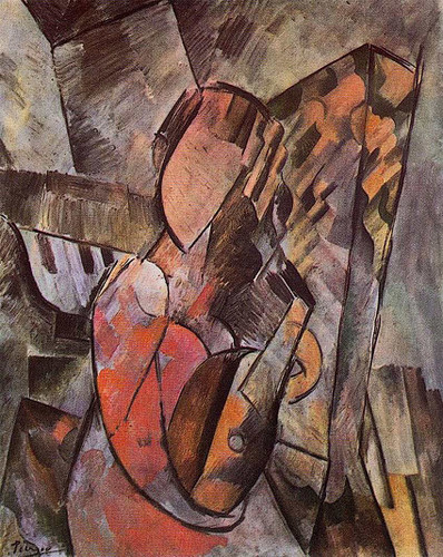 Woman With Mandolin 1909 By Pablo Picasso Art Reproduction from Wanford