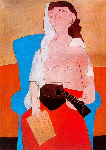 Woman With Mandolin 1925 By Pablo Picasso Art Reproduction from Wanford