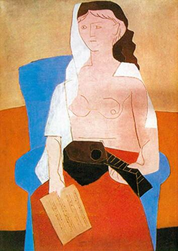 Woman With Mandolin By Pablo Picasso Art Reproduction from Wanford