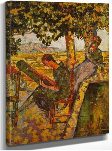 Young Girls In A Garden By Salvador Dali