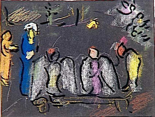 Abraham And Three Angels 3 By Marc Chagall