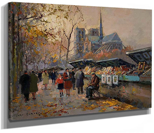 Booksellers Along The Seine By Edouard Cortes