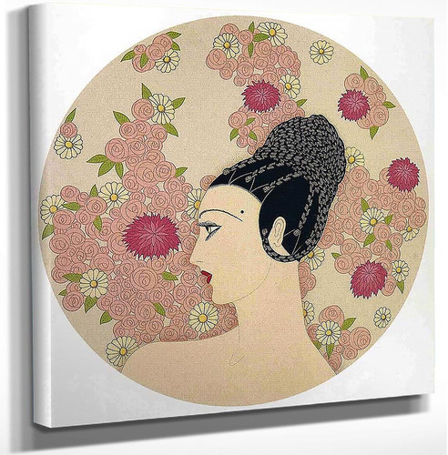 Profile In Pink Flowers By Erte Art Reproduction from Wanford.