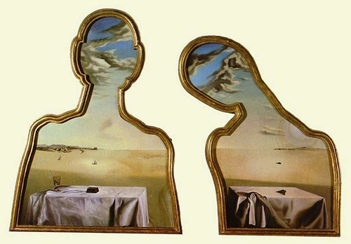 Couple With Their Heads Full Of Clouds By Salvador Dali