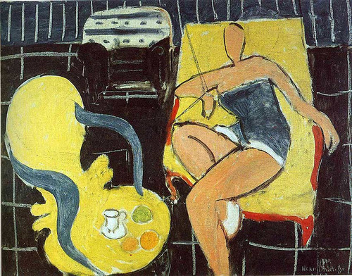 Dancer And Rocaille Armchair On A Black Background 1942 By Henri Matisse