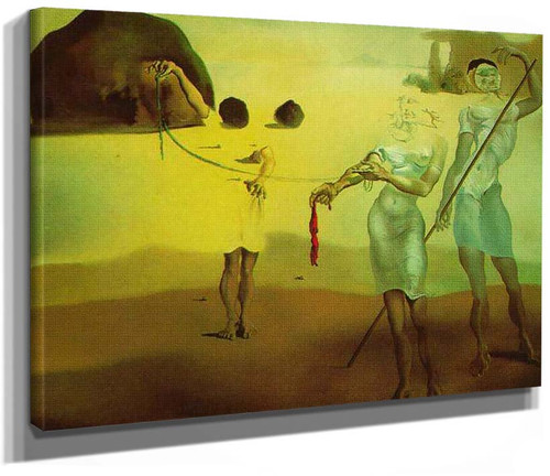 Enchanted Beach With Three Fluid Graces By Salvador Dali