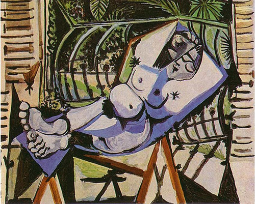 Female Nude Near The Garden 1956 By Pablo Picasso