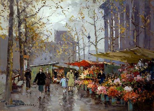 Flower Market At La Madeleine 1 By Edouard Cortes