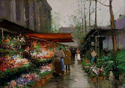 Flower Market At La Madeleine 2 By Edouard Cortes