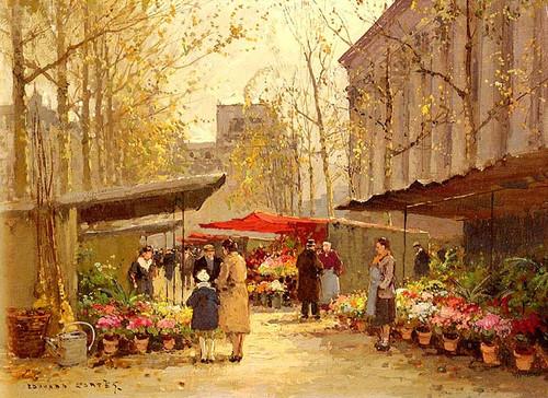 Flower Market At La Madeleine By Edouard Cortes