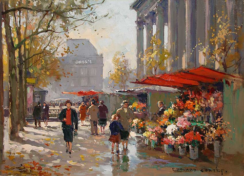 Flower Seller At La Madeleine By Edouard Cortes