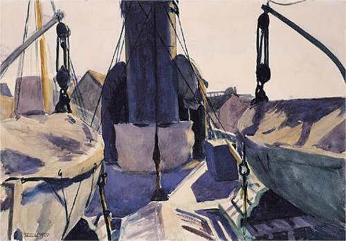 Funell Of Trawler By Edward Hopper