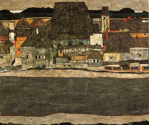 Houses By The River The Old City 1914 By Egon Schiele