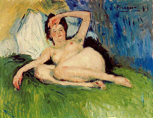 Jeanne Reclining Nude 1901 By Pablo Picasso