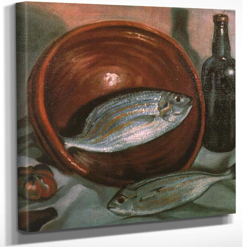 Still Life Fish With Red Bowl 1924 By Salvador Dali Art Reproduction from Wanford.