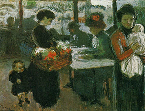 Montmartre Brasserie The Flower Vendor By Pablo Picasso