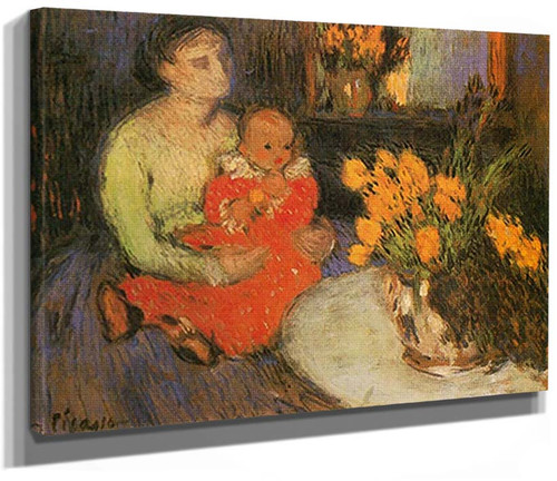 Mother And Child In Front Of A Bowl Of Flowers By Pablo Picasso