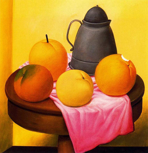 Still Life With Fruits And Pot By Fernando Botero Art Reproduction from Wanford.