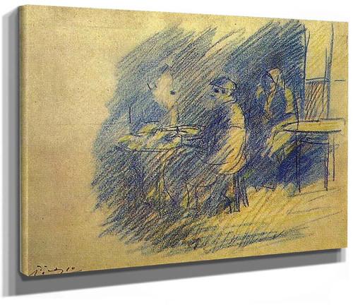 Picasso And S Junier Vidal Sitting Near Celestina 1904 By Pablo Picasso