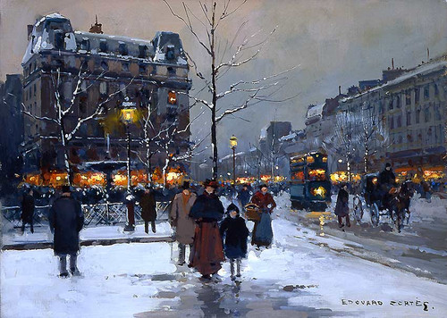 Place Pigalle Winter Evening By Edouard Cortes