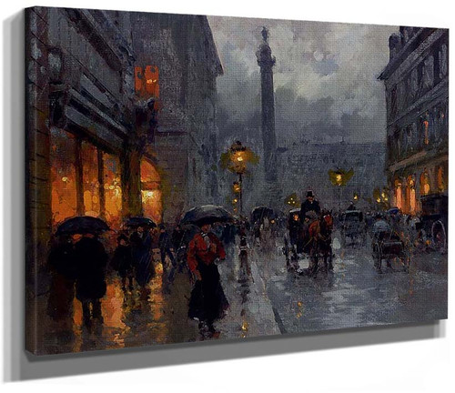 Place Vendome In Rain By Edouard Cortes
