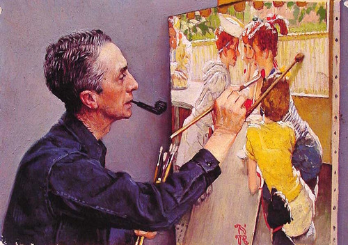 Portrait Of By Norman Rockwell Painting The Soda Jerk 1953 By Norman Rockwell