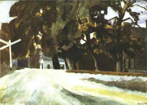 Railroad Crossing By Edward Hopper