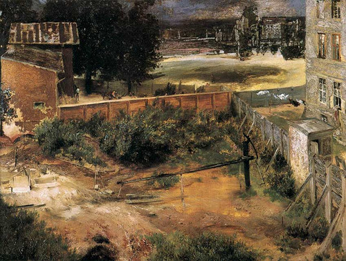 Rear Of House And Backyard By Menzel Adolph Von