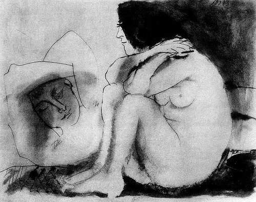 Sleeping Man And Sitting Woman By Pablo Picasso